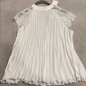 Banana Republic pleat and lace top - s